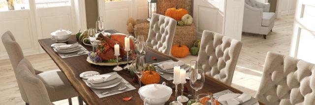 table set for thanksgiving dinner