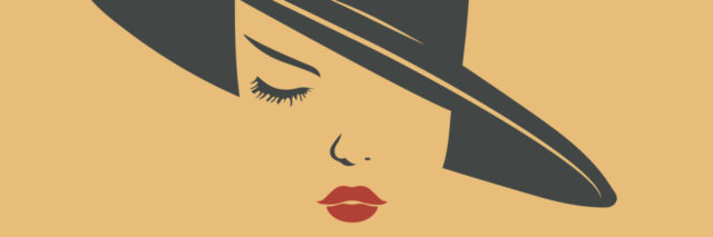 illustration of woman wearing a hat and lipstick