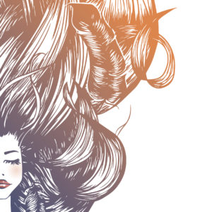 Vector beautiful woman with long hairs and feathers