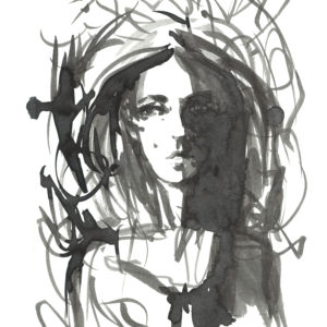 A sketched image of a woman.