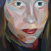 Bright portrait of a woman painted in gouache