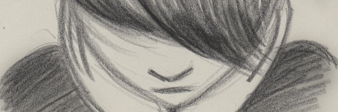 young girl sad sketch