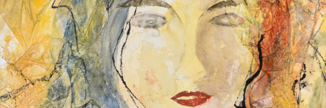 Modern watercolor portrait of a young woman