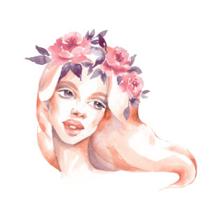 watercolor painting of a woman with pink and purple flowers in her hair