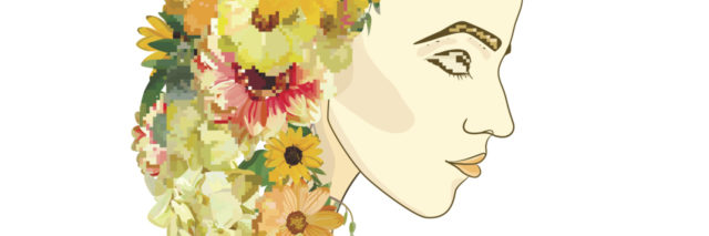 illustration of a woman whose hair is made of yellow and orange flowers