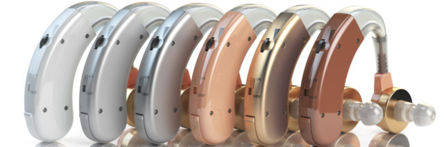 Hearing aids of different colors.