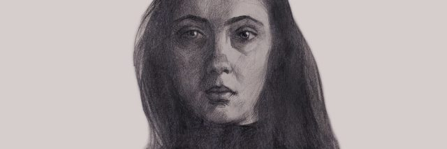 Pencil self-portrait of a young girl on a light background