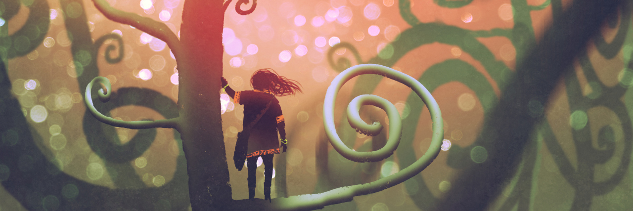 Girl standing on a branch of a fantasy tree in enchanted forest.