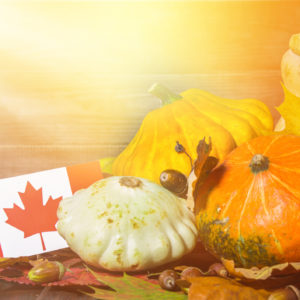 pumpkins next to canadian flag