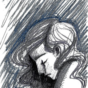 sketch of a woman with long hair looking down