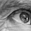 Close-up of elderly man's eye