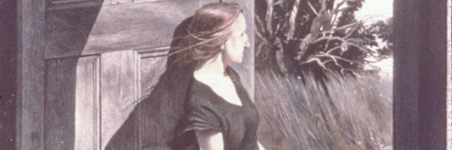 drawing of woman sitting in her doorway looking outside