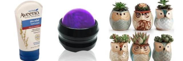 hand cream, massage roller ball and succulents
