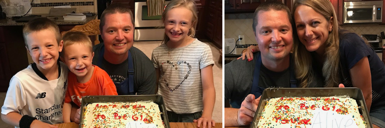 man with his kids and man with his wife holding a cake