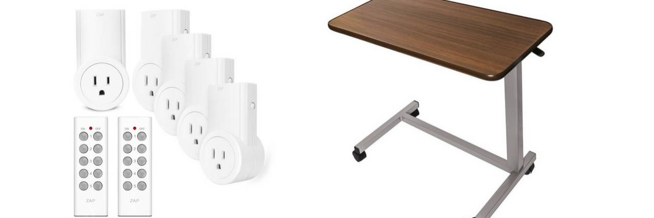 remote-controlled outlets and rolling overbed table