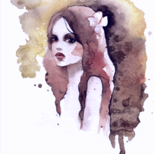 watercolor painting of a girl with a flower in her hair