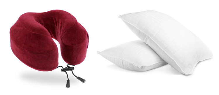 travel neck pillow and two plush gel pillows