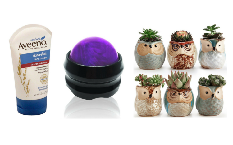 hand cream, massage roller ball and succulents