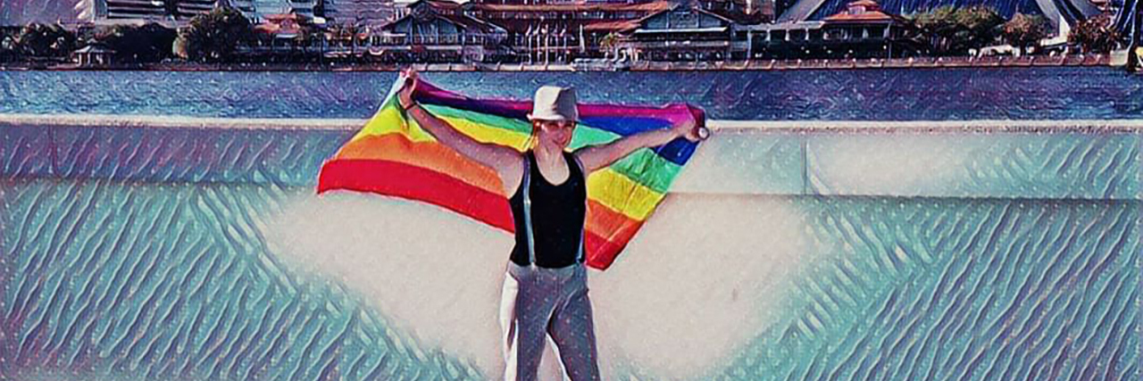 The author holding a rainbow flag, artistic rendering.