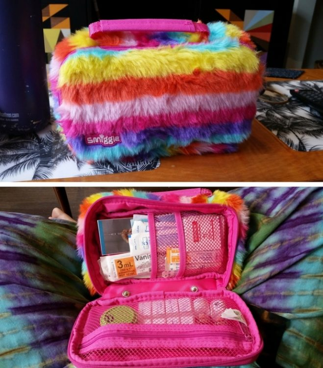 rainbow furry bag outside and inside