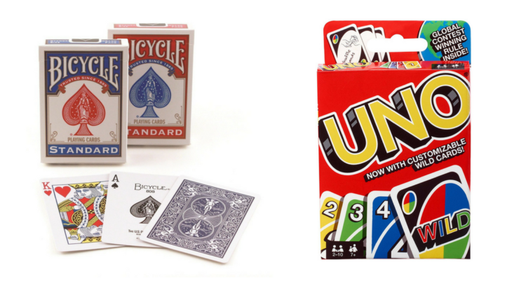 deck of cards and uno