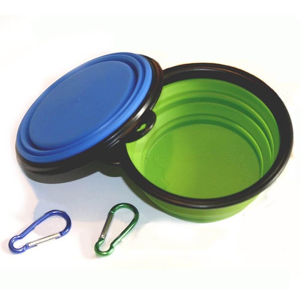 Pair of collapsible dog bowls for a service dog on the go.