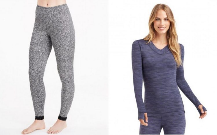 cuddl duds gray leggings and blue v neck long sleeve shirt