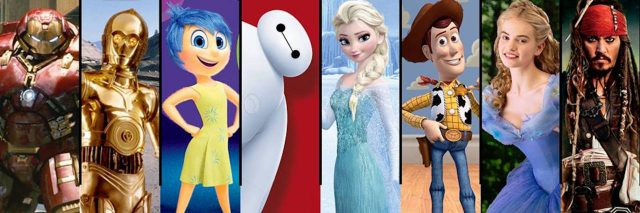 disney characters from different disney movie stand together