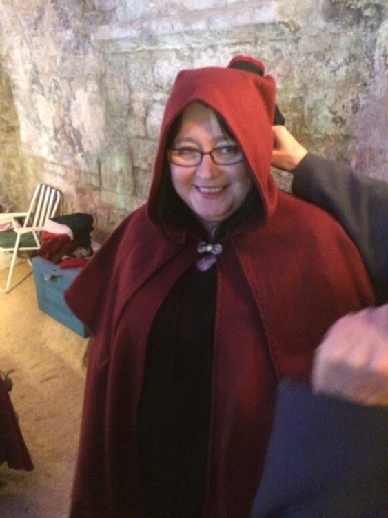 woman dressed up as an evil pixie