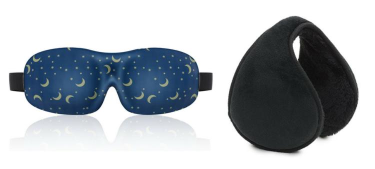 eye mask and ear muffs