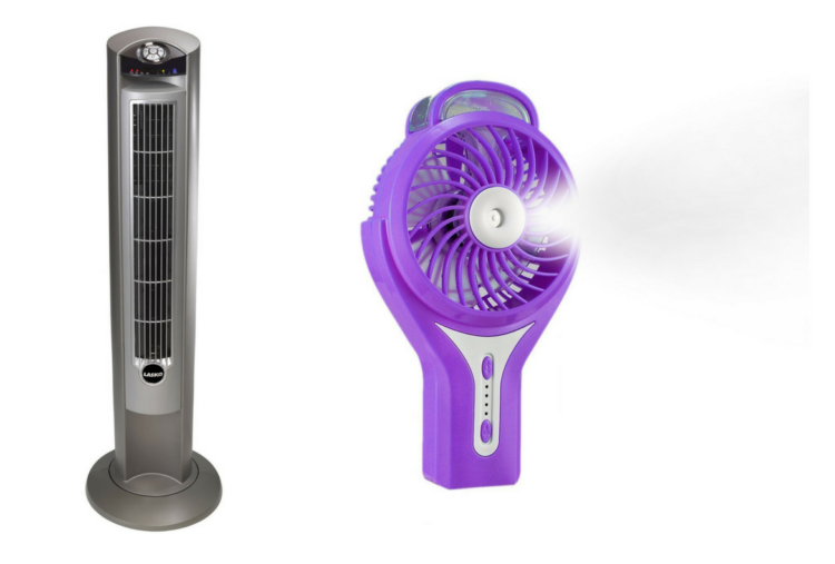 oscillating tower fan and handheld fan with mister