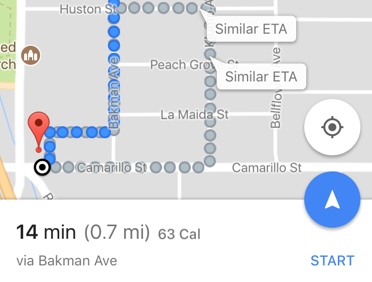 Google Maps Calories