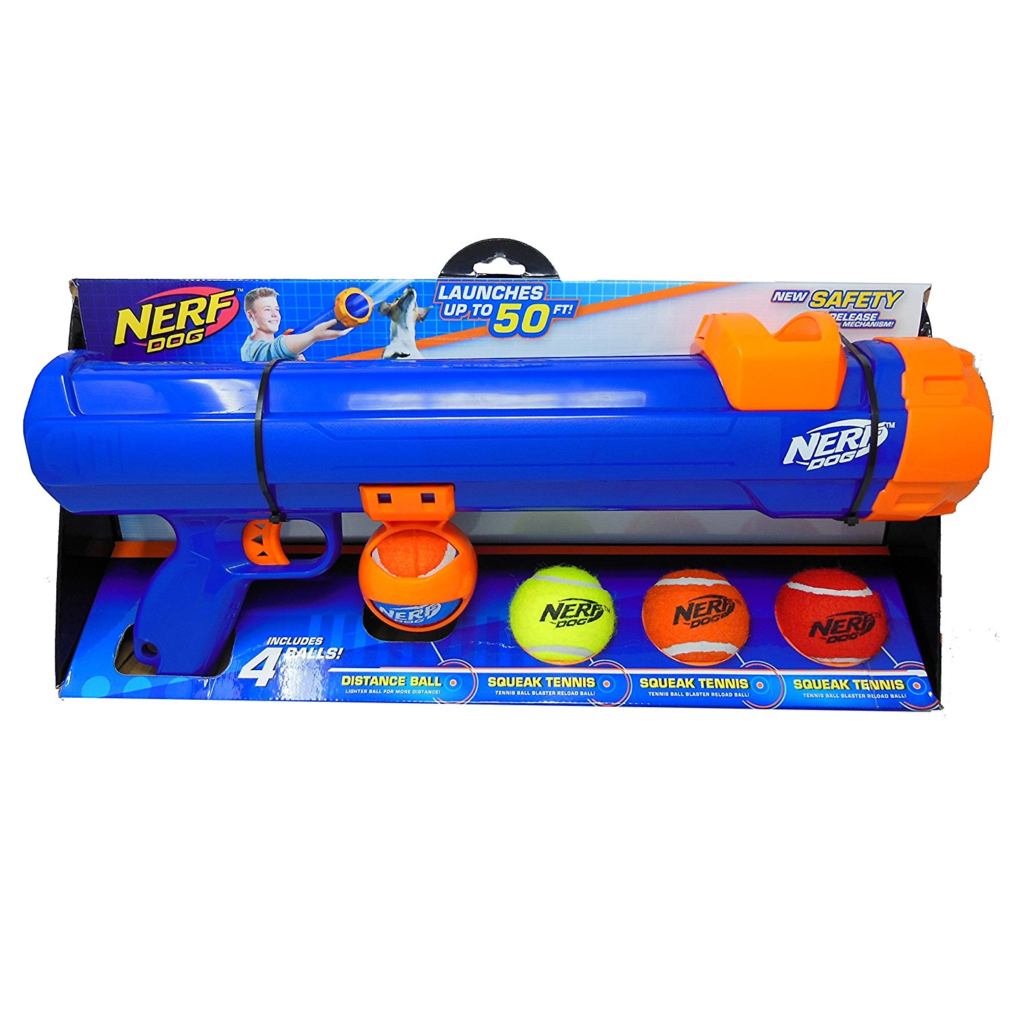 Nerf dog tennis ball blaster is great for service dogs.
