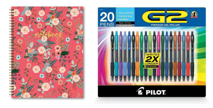 spiral notebook and g2 pilot gel pens