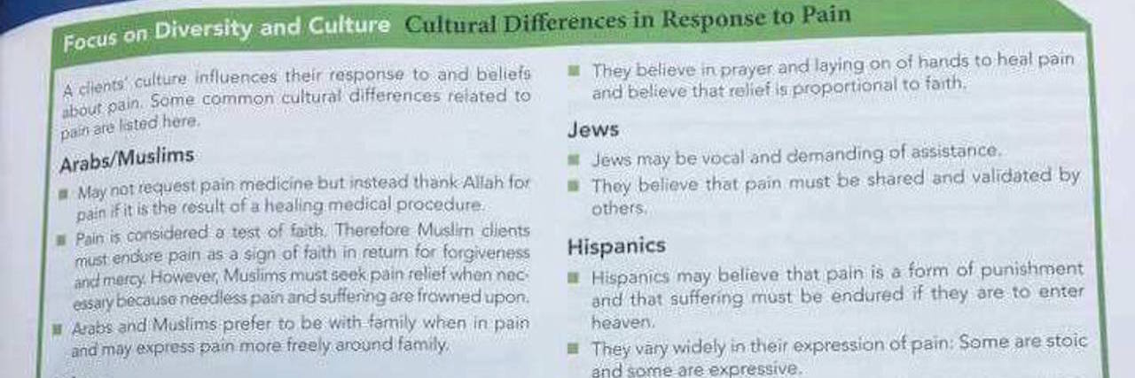 nursing textbook about racial responses to pain