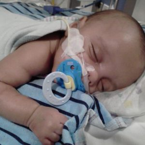 Baby with oxygen in a hospital