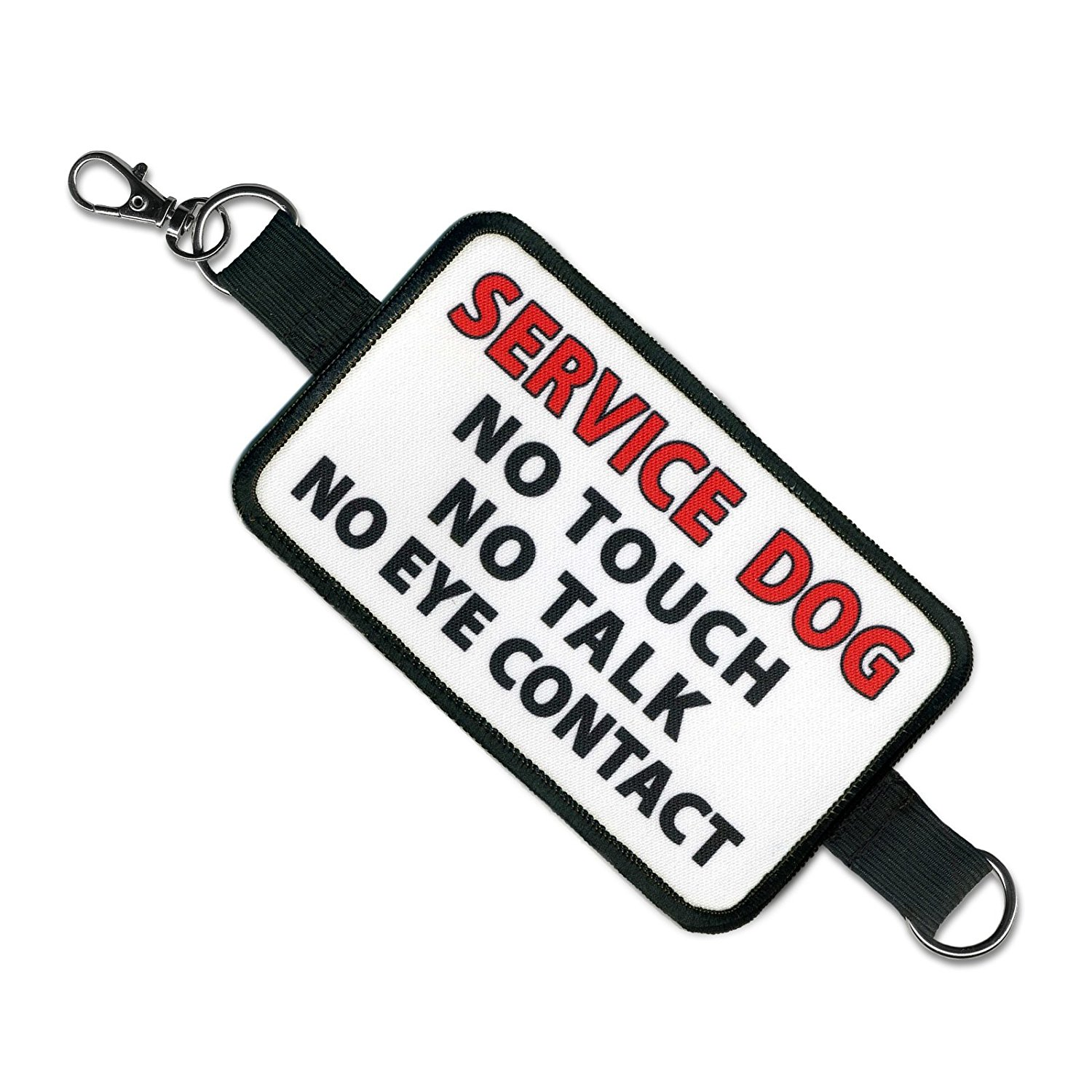 "Service dog leash wrap says ""no touch, no talk, no eye contact."""