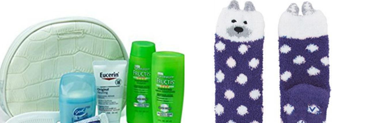 socks and toiletry kit