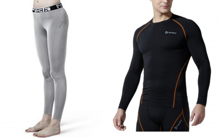 tesla gray leggings and men's black long sleeved shirt