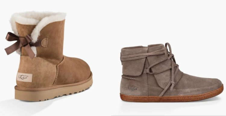 ugg boot, mid calf length with bow in back, and ugg ankle boot with lace that wraps around top of boot