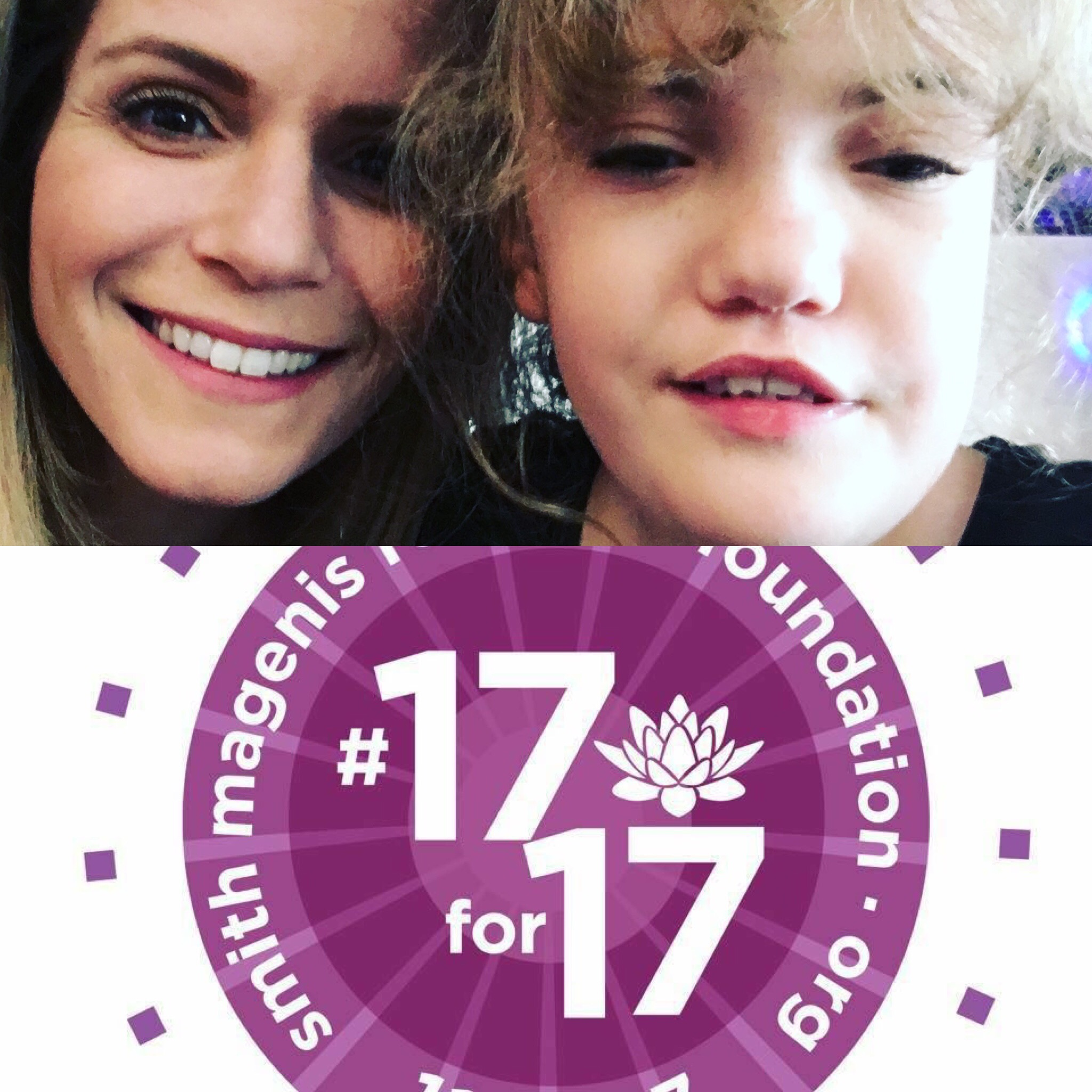 The author and her daughter with the SMS foundation's 17 for 17 logo