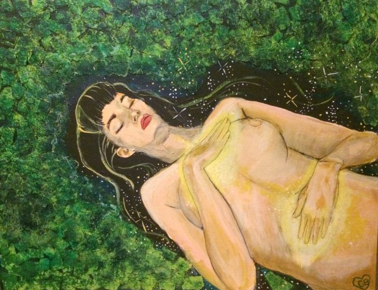 painting of a woman lying down with her hands on her body