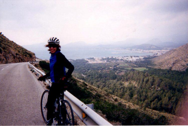 woman biking in mallorca, spain