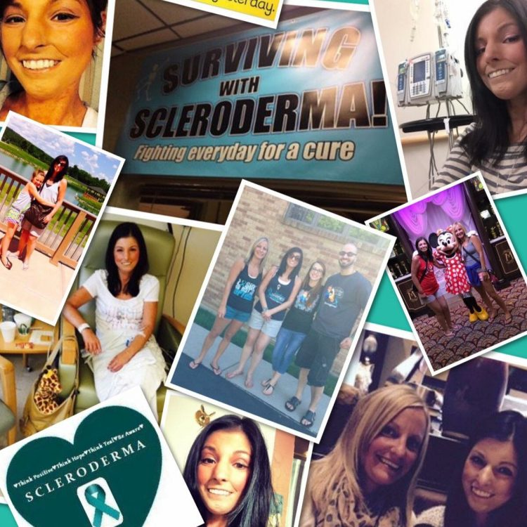 a collage of photos of the author and scleroderma awareness pictures