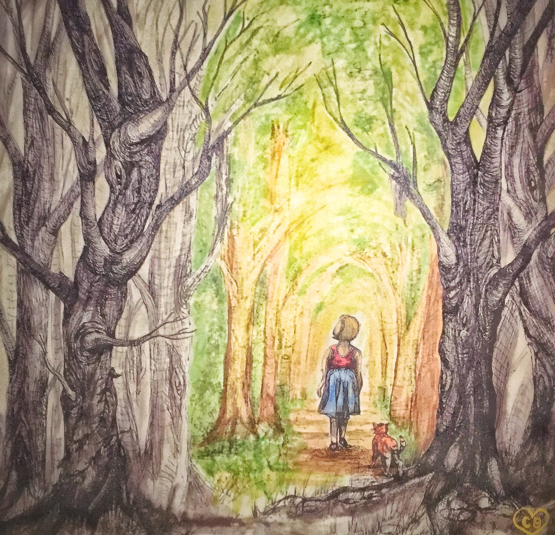 An illustration of a woman walking through a forest.