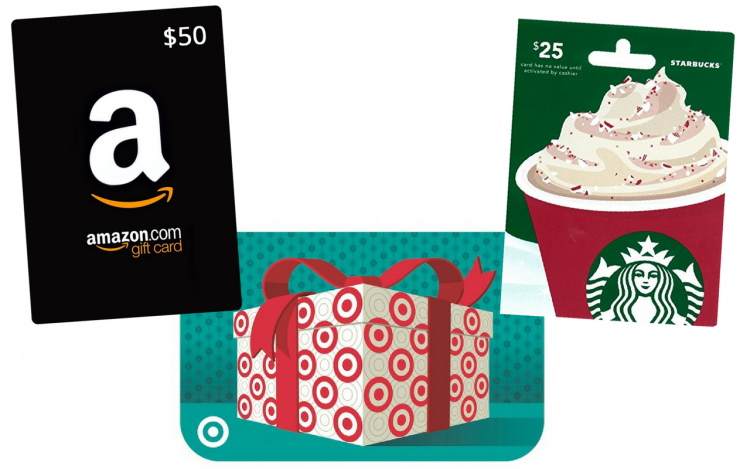 Amazon, Target and Starbucks gift cards