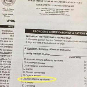 ehlers-danlos syndrome on the list of conditions allowed to receive therapeutic cannabis