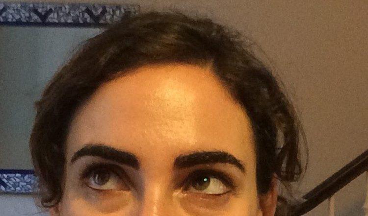 Erica Schecter after eyebrow tattoo