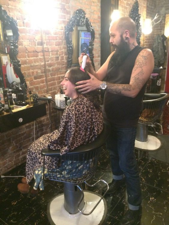 Erica Schecter at Hello Beautiful haircut