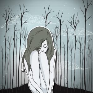 Original illustration of young woman sitting alone in the woods